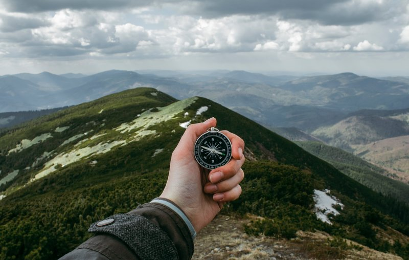 hiking, compass, camping