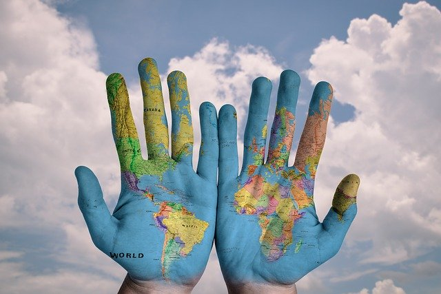 hands, map, earth, travel,