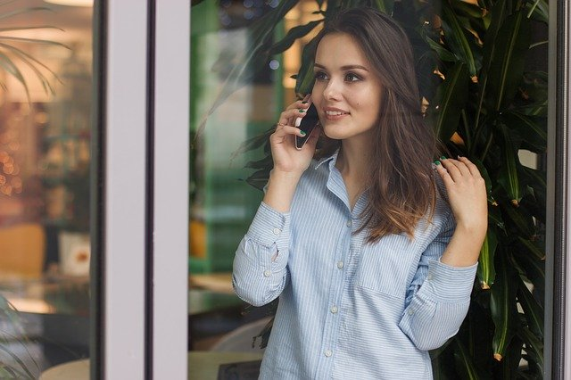 woman, cell phone, phone, calling, talking, bank,